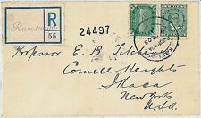 COOK -  POSTAL HISTORY:  registered COVER: RARTONGA to USA w/arrival cancel 1908
