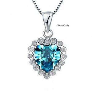Certified silverTitanic Blue ocean heart diamond pendant necklace SN002