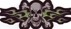 Aufnäher Patch Modell Green Flame Skull Größe ca. 16,5 cm auf 6,5 cm