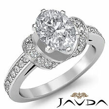 Antique Oval Diamond Pre-Set Engagement Ring GIA Certified F SI1 Platinum 1.5 ct