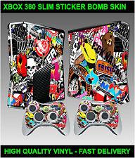 Console xbox 360 slim Autocollant peau Stickerbomb graphique & 2 x pad skins