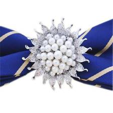 Large Flower Rhinestone Crystal Pearl Zircon Brooch Wedding Pin Silver Plated