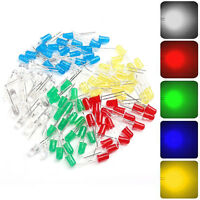 100pcs 5mm Red Green Blue Yellow White Light Emitting LED Diode Assorted Kit*