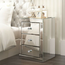 3 Drawers Modern Mirrored Glass Bedside Table Cabinet Bedroom Nightstand