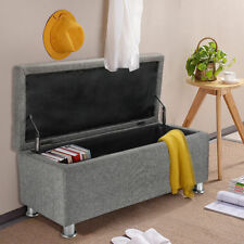 Chenille Linen Fabric Ottoman Storage Stool Pouffe Bench Chest Toy Blanket Box