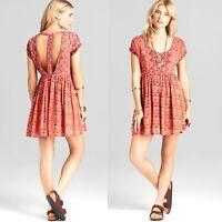 Womens Free People Orange Dress XS Babydoll Oversized Pattern Cut Out Boho