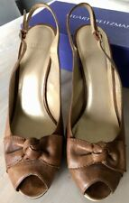 Stuart Weitzman Brown Leather Peep Toe Bow Platform Stiletto Pumps 10