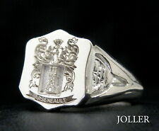 SIGNET RING REGAL FEMININE SILVER YOUR FAMILY CREST ENGRAVED SHIELD BY JOLLER