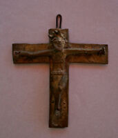 ANTIQUE AFRICAN BRONZE CRUCIFIX JESUS CHRISTIAN TRIBAL