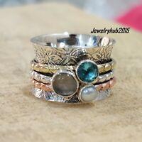 Solid 925 Sterling Silver Meditation Ring Statement Ring Spinner Ring Size sr408