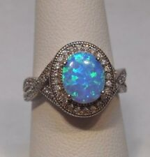 Estate~Stunning Blue Opal & Clear Gemstones 925 Sterling Silver Halo Ring Size 7