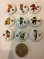Lot of 9 Paw Patrol Badges - 3cms diameter - Party Favours, Loot Bag Fillers