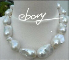 """18""""18-25MM SOUTH SEA GENUINE WHITE BAROQUE NUCLEAR PEARL NECKLACE"""