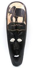 Masque ethnique Africain éléphant trompe en l'air en bois déco Africaine