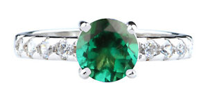 1.76Ct Round Shape Solitaire Natural Green Zambian Emerald Ring In 925 Silver