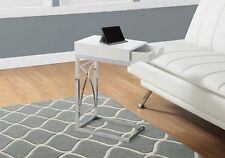 Monarch Specialities Accent Table - Chrome Metal / Glossy White With A Drawer