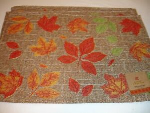 New! S/4 Tapestry Harvest Fall Falling Leaves Placemats Kitchen Placemat Set