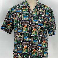 Winnie Fashion Postcards Aloha Outrigger Ukele Black Hawaiian Shirt Size Medium