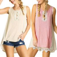 Women's Casual Sleeveless O Neck Loose Patchwork Tank Tops Beach Blouse T Shirt