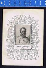 1898 Antique Print Edward G E Bulwer-Lytton Writer
