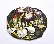 1930 Japanese Frame Sterling Silver Enamel Belt Buckle Iris Flower 純銀 Jungin Mk