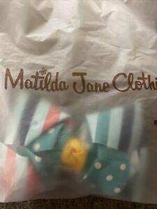 NWT Matilda Jane HAIR BOW CLIP ON A WALK 6X4 BLUE DOT STRIPE SOLD-OUT WONDERMENT