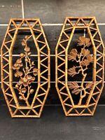 Vtg SYROCO Pair of Bamboo Floral Wall Plaques Dart 7412 A & B Homco Retro