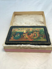 Vintage Russian hand-painted Lacquer Trinket Box Hinged- Pre 1986
