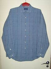 "NINO CERRUTI MEN'S DESIGNER LONG SLEEVE CHECKED SHIRT BLUE SIZE 16.5"" LARGE 1881"