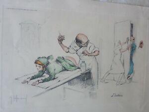 GASTON HOFFMANN- lithographie/estampe-satirique-Medical-L'intrus-Original Litho