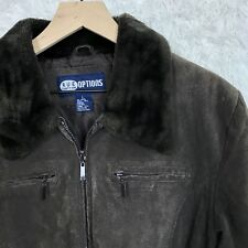 Rue21 Options Womens Large Brown 100% Genuine Leather Zip Jacket Pockets Belted