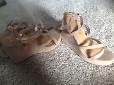 Nude Boohoo Truffle Wedges sandals Size 5 Brand New In Box With Ankle Straps