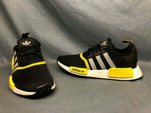Adidas NMD_R1 J Athletic Sneakers Mesh Black Silver Yellow Boys Size 5 NWOB!