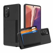 Samsung Galaxy Note 20 - Black Hybrid Credit Card Id Pocket Non-slip Case Cover
