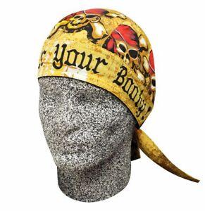 Surrender Your Booty Pirate Doo Rag Durag Head Wrap Skull Cap Sweatband Biker