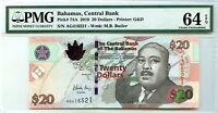 BAHAMAS 20 DOLLARS 2010 BAHAMAS CENTRAL BANK CH UNC PICK 74 A  VALUE $180