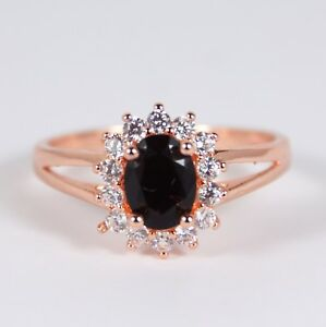 Women's Rose Gold plated Black crystal ring