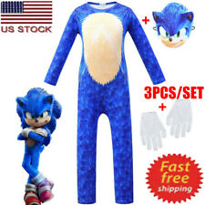 Kids Cosplay Sonic The Hedgehog Boy Jumpsuit+Mask+Gloves Costume Fancy Dress Set