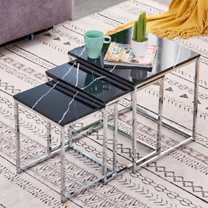 Black Marble Vein Nest Of 3 Side End Coffee Nested Nesting Tables Living Room