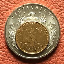 """Medaille """"European Currencies"""" Deutschland 1990 mit vergoldete Inlay 1 DM 1990 D"""
