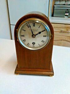 Edwardian Birch & Gaydon Ltd. Inlaid Mahogany Mantle Clock (3585)
