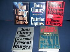 Tom Clancy Hardcover Book Lot Jack Ryan Patriot Games Without Remorse