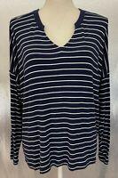 Cabi Womens Sz XS Blue White Striped LS V Neck Ahoy Tee Shirt Style 5556