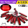 10 Pcs Red 6 LED Side Marker Rear Clearance Lights Truck Trailer Lorry Lamp 12V