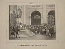 RARE Litho Suèdoise NAPOLEON DISTRIBUTION de la LEGION d'HONNEUR EMPIRE 1825