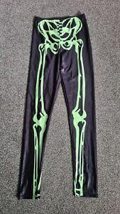 Very Shiny Black Skeleton Spandex Lycra Leggings Fashion Dancewear - One Size