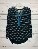 One September OS Anthropologie Womens M Medium Black Boho Embroidered Top Blouse