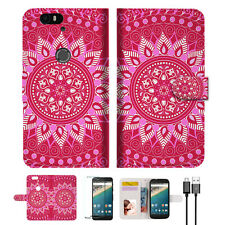 Hot Pink AZTEC TRIBAL Wallet Case Cover For Google Pixel 2 -- A004