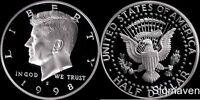 1998 S 90% Silver Kennedy Half Dollar Deep Cameo Gem Proof