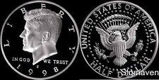 1998 S 90% Silver Kennedy Half Dollar Deep Cameo Gem Proof No Reserve